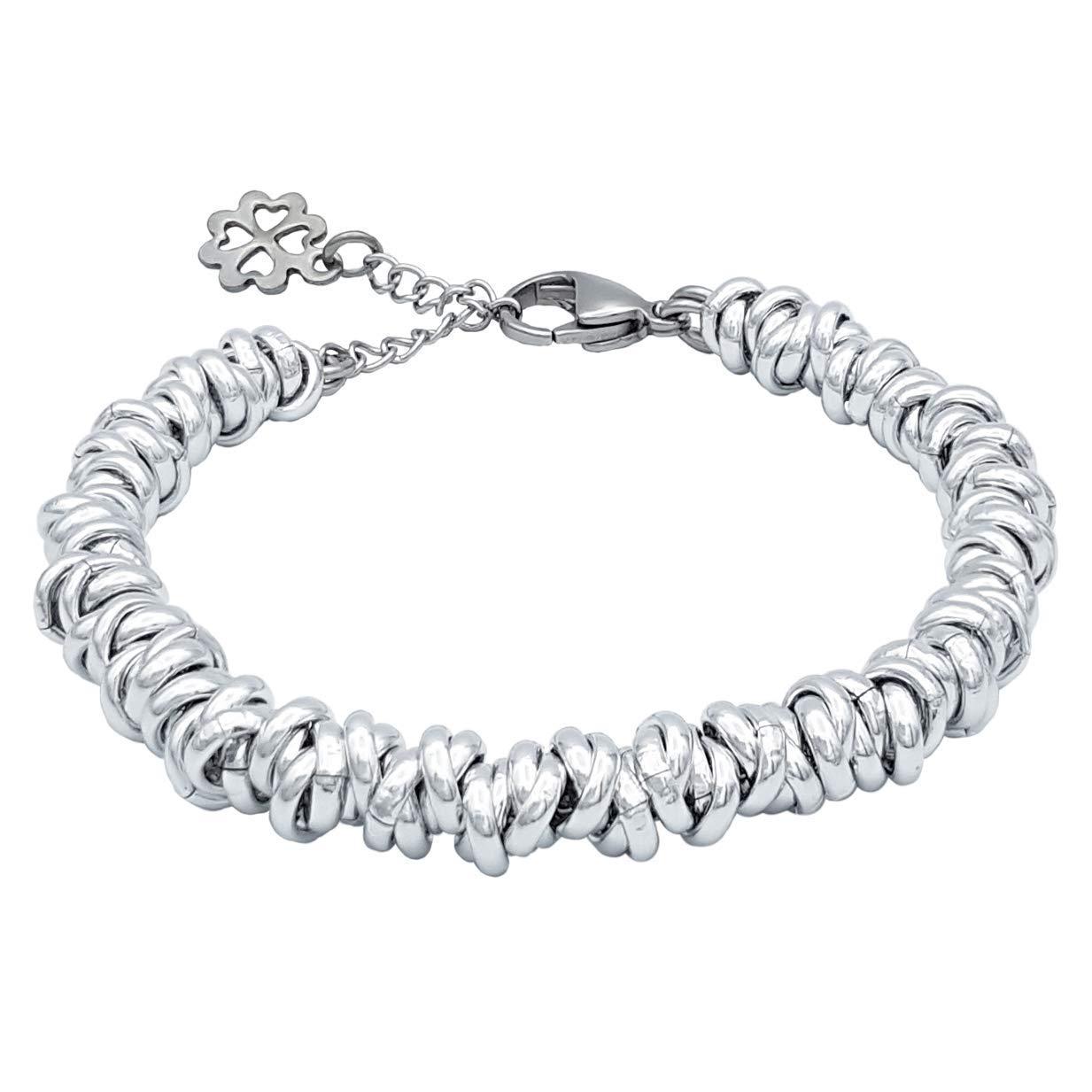 Bracciale in acciaio e alluminio con charm quadrifoglio portafortuna