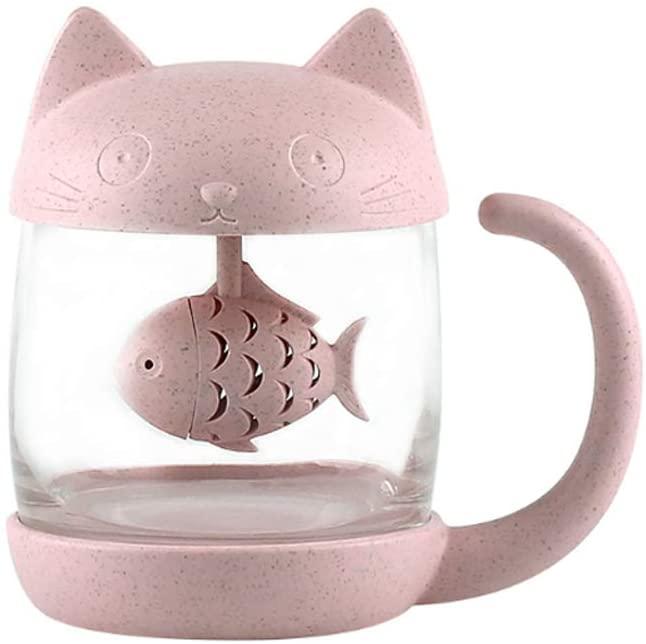 Tazza da tè a forma di gatto con infusore a forma di pesce