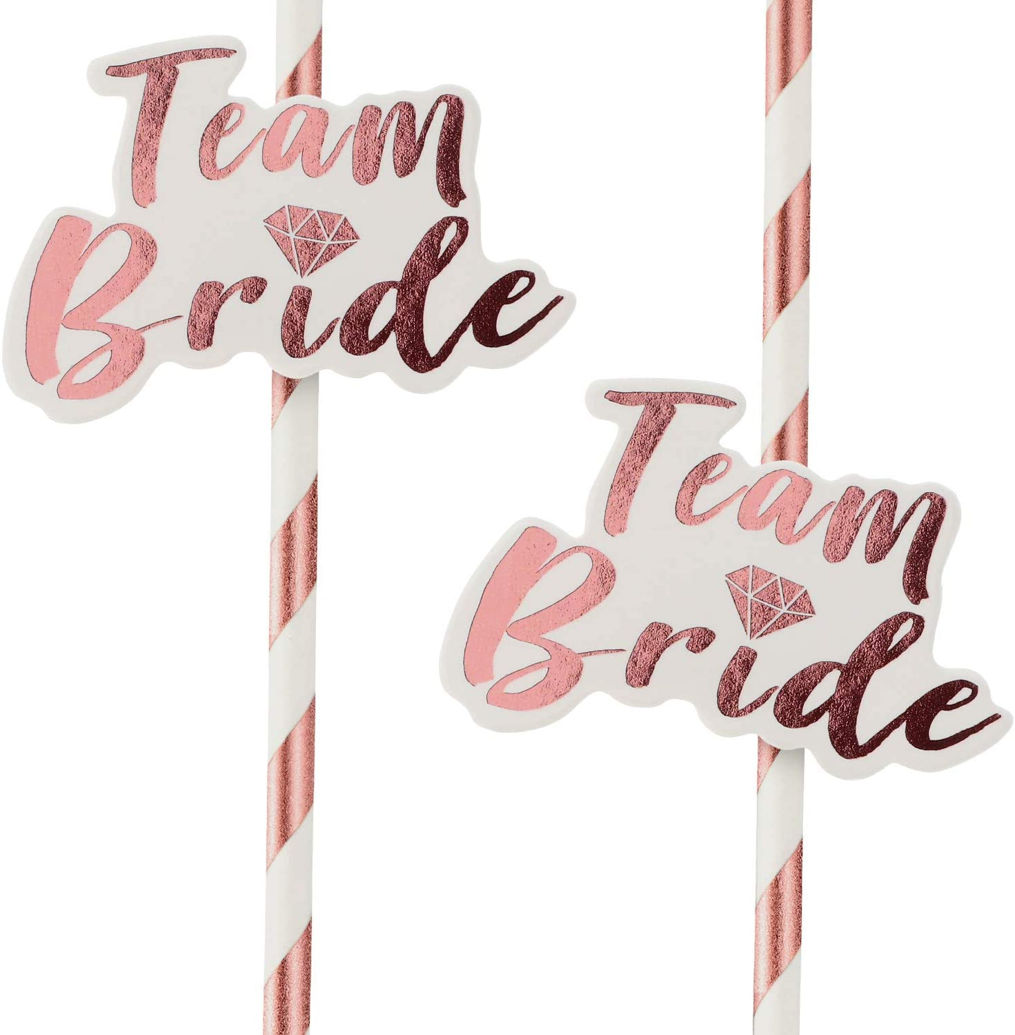 48 Rose Gold and White Team Bride Paper Straws