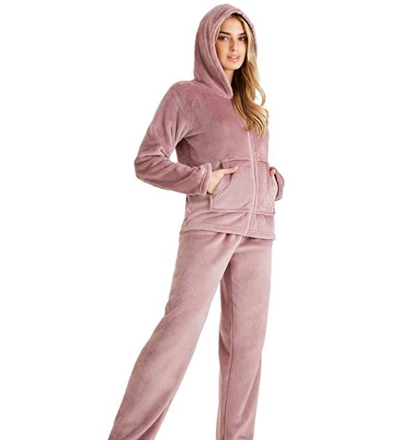CityComfort - Pigiama in pile per donne perfetto per l'inverno con felpa e pantalone