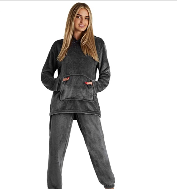 CityComfort - Pigiama in pile per donne a maniche lunghe super morbido