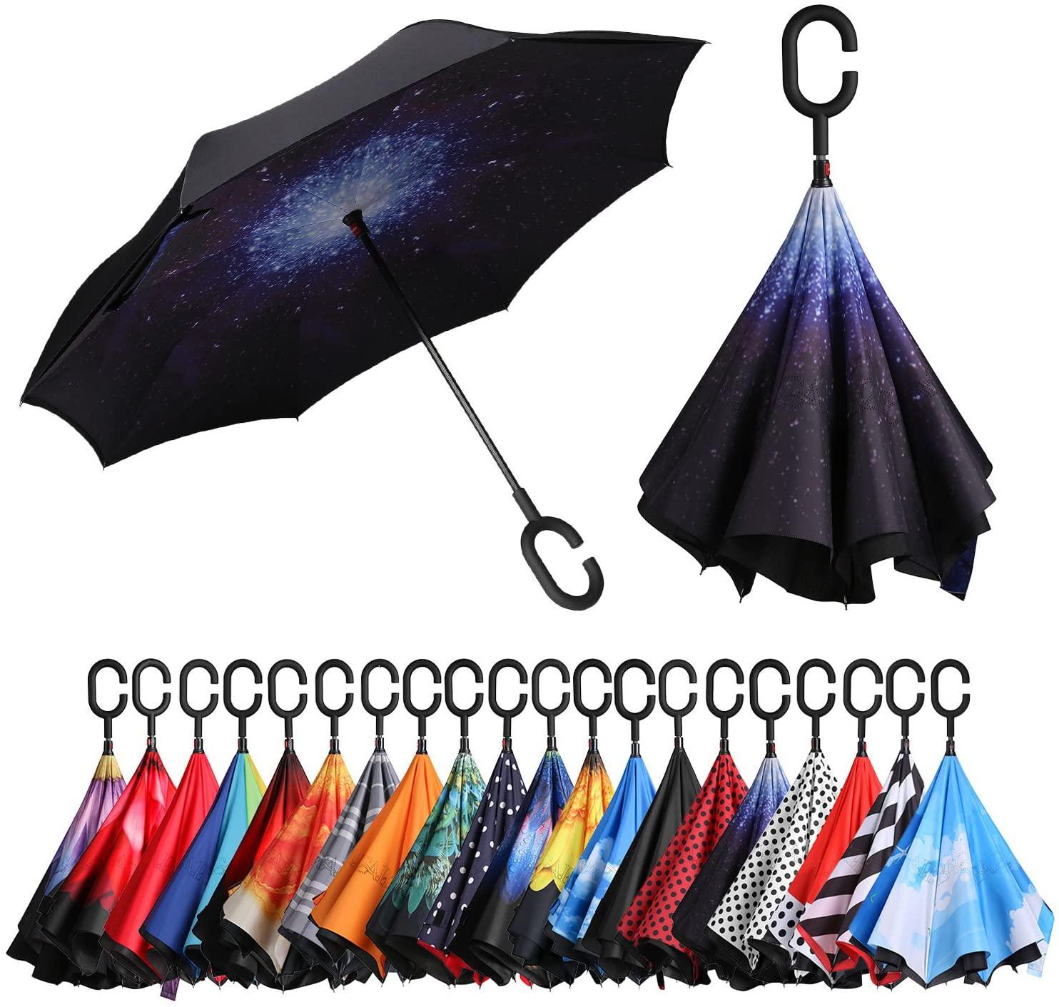 Eono ombrello invertito con manico a forma di C
