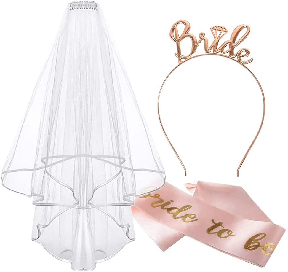 Bridal headband and veil, bachelorette party accessories