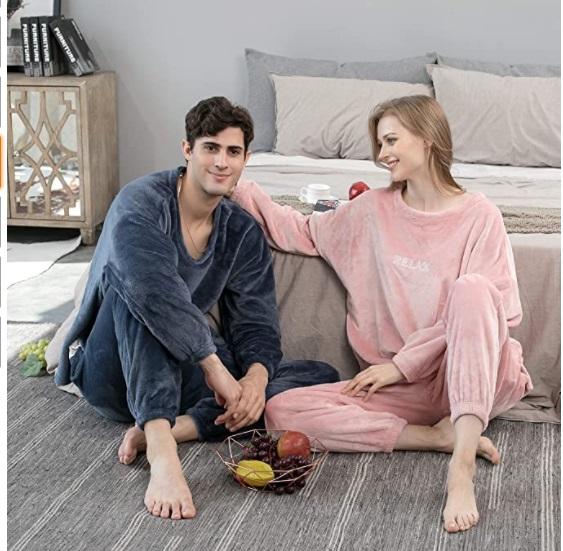 Geagodelia - Set pigiama da coppia unisex Donna-Uomo in pile