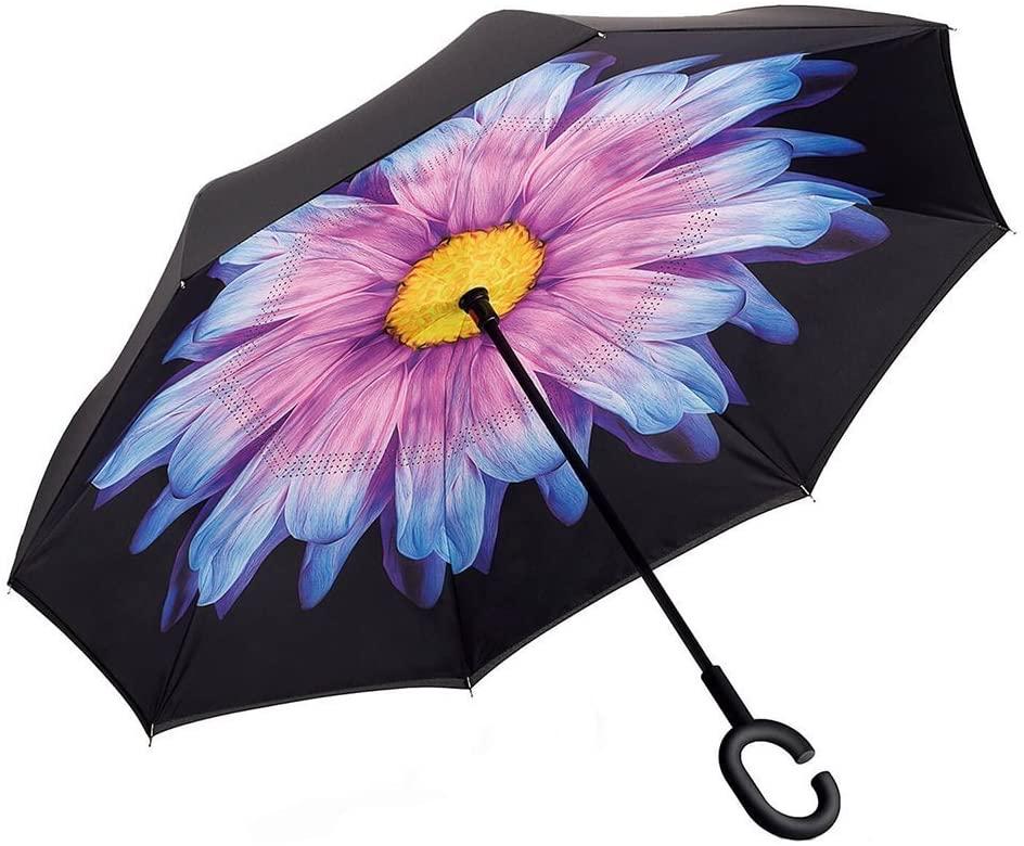 Ombrello inverso reversibile con fiore