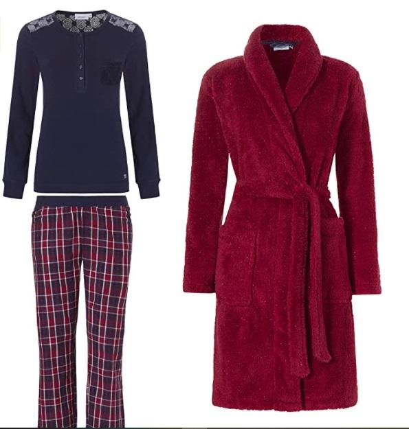 Pastunette - Pigiama da donna in morbido pile rosso tartan e vestaglia abbinata