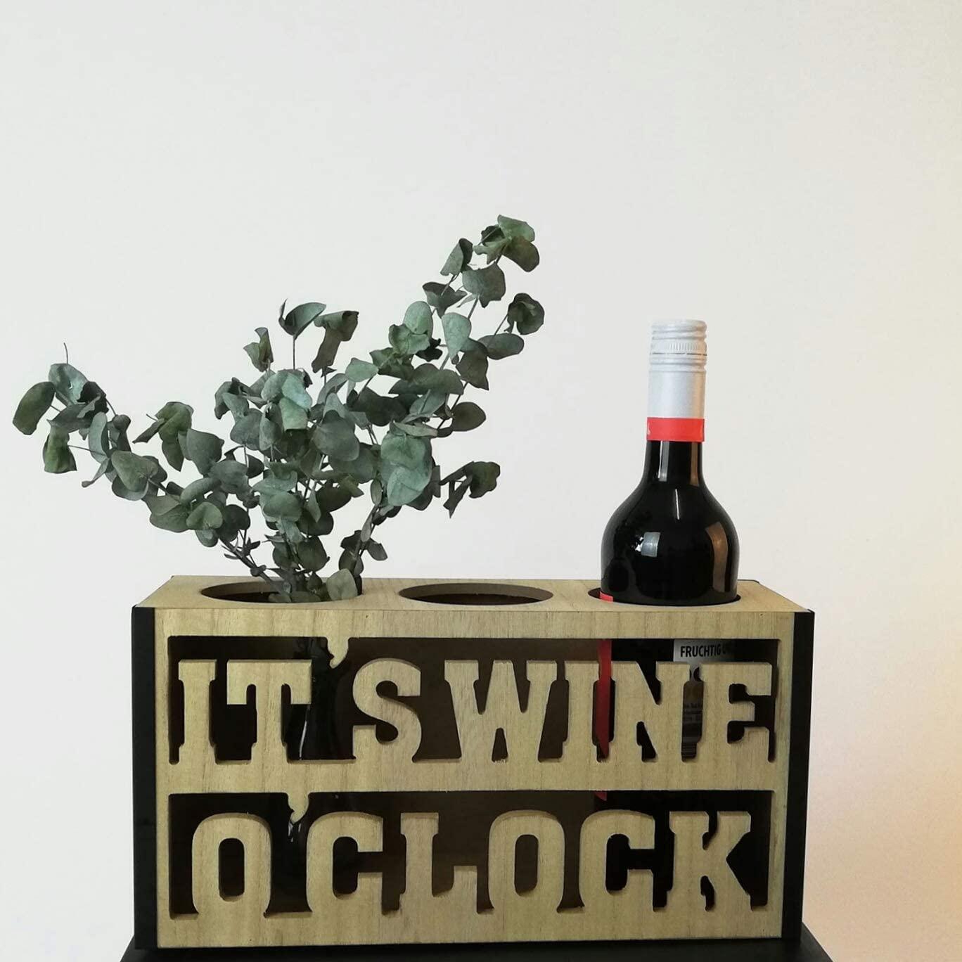 Portabottiglie 'Its Wine O Clock' in legno