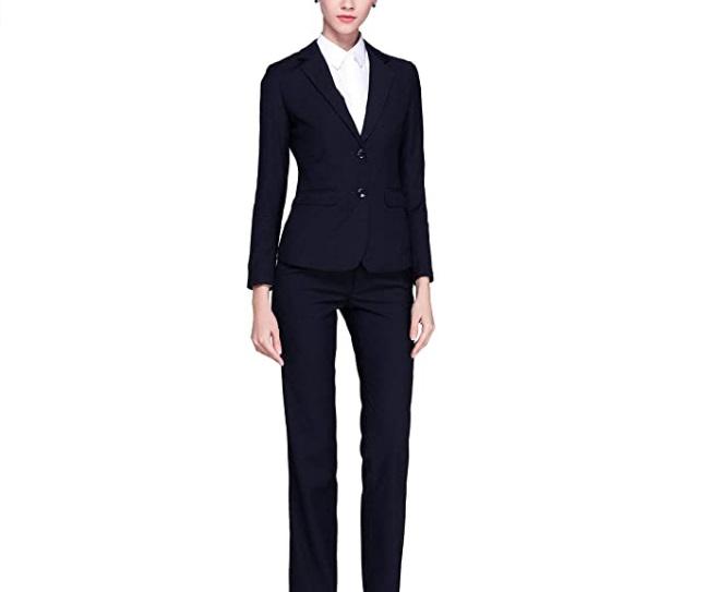 Tailleur elegante da donna Rojeam con pantalone e giacca blazer