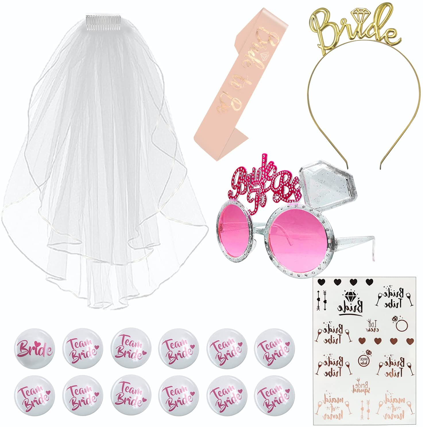 Bridal veil with headband, glasses and tattoo
