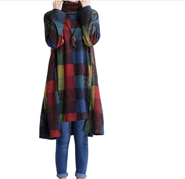 Vestito felpa a patchwork lungo