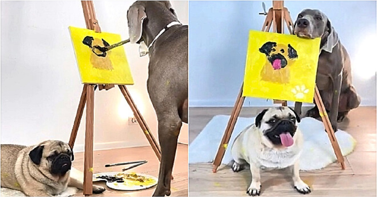 Cane dipinge il carlino su tela