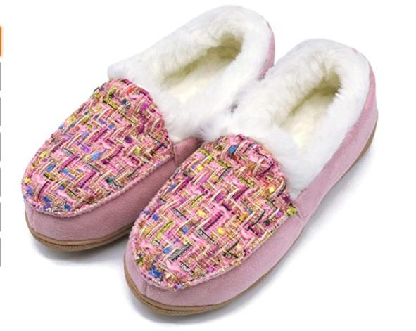 Oncai pantofole da donna Memory Foam con dettaglio in peluche modello mocassino