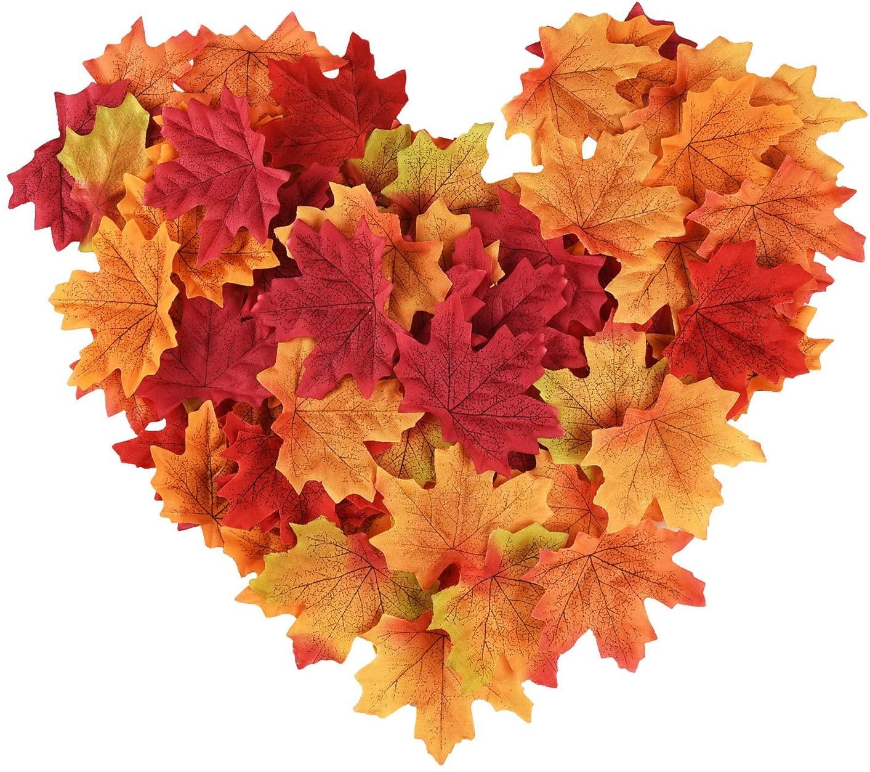 300 foglie di acero artificiali nei colori dell'autunno per decorare casa