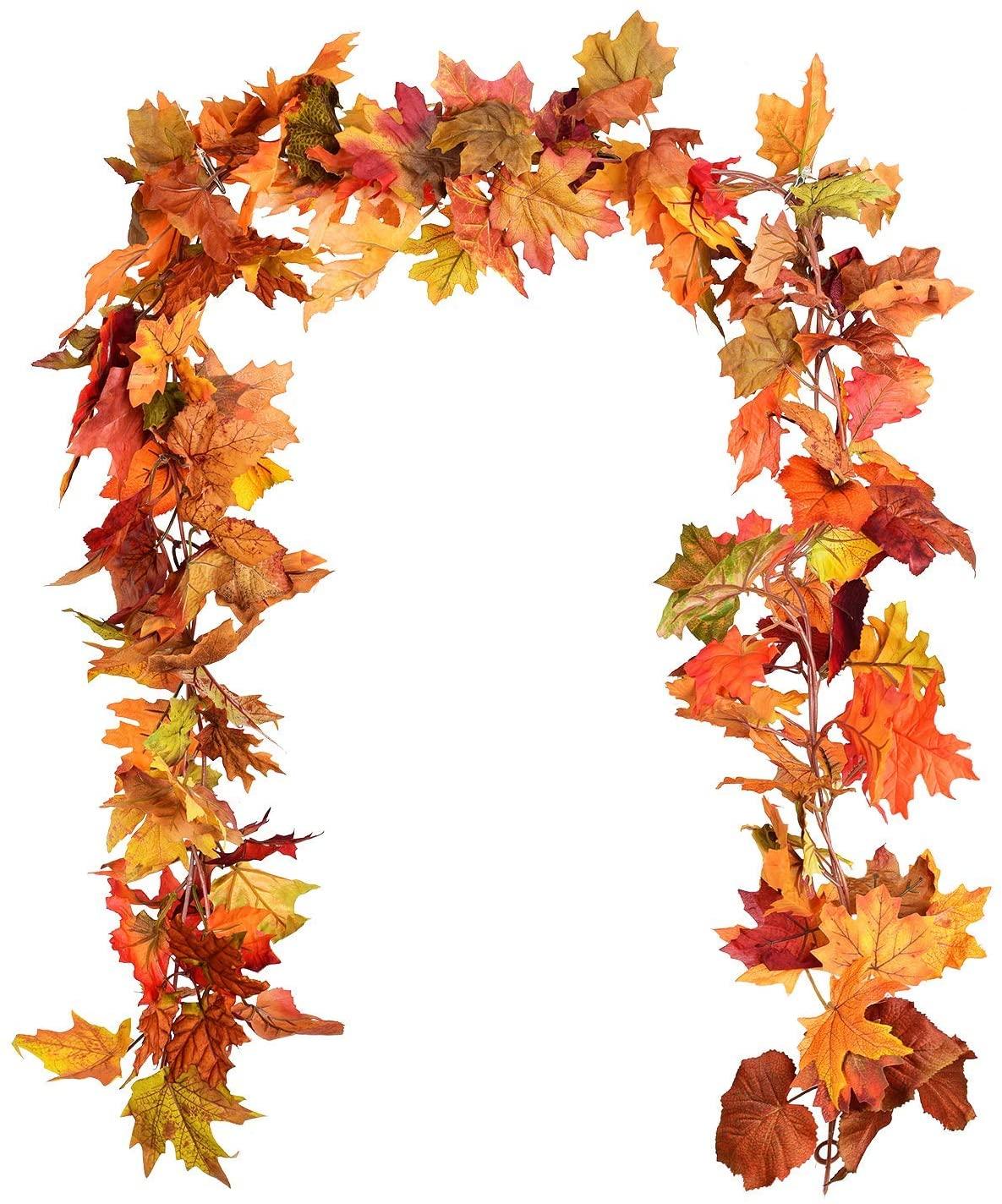 Ghirlanda di foglie d'acero artificiali rampicanti per la porta o il camino