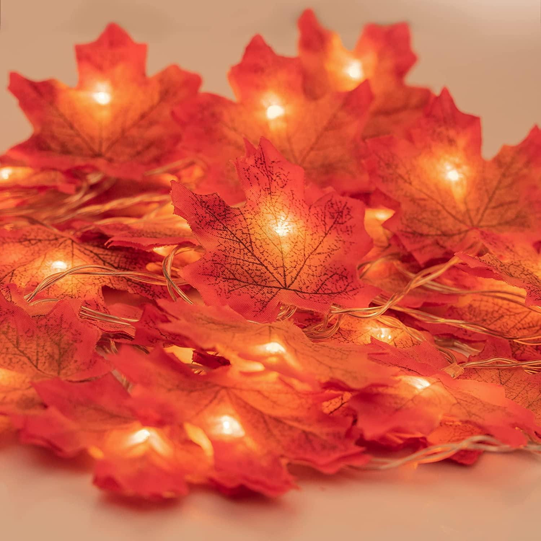 Ghirlanda luminosa di foglie d'acero autunnali