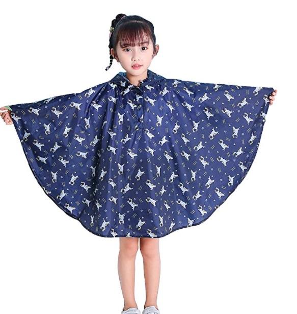 Giacca da pioggia impermeabile per bambini, modello poncho con cappuccio e sacca