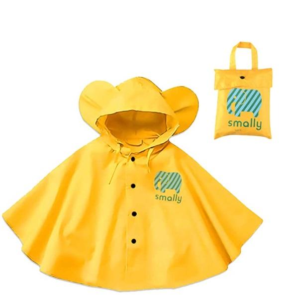 Gudotra outfit da pioggia in autunno per bambini giallo con cappuccio e borsa