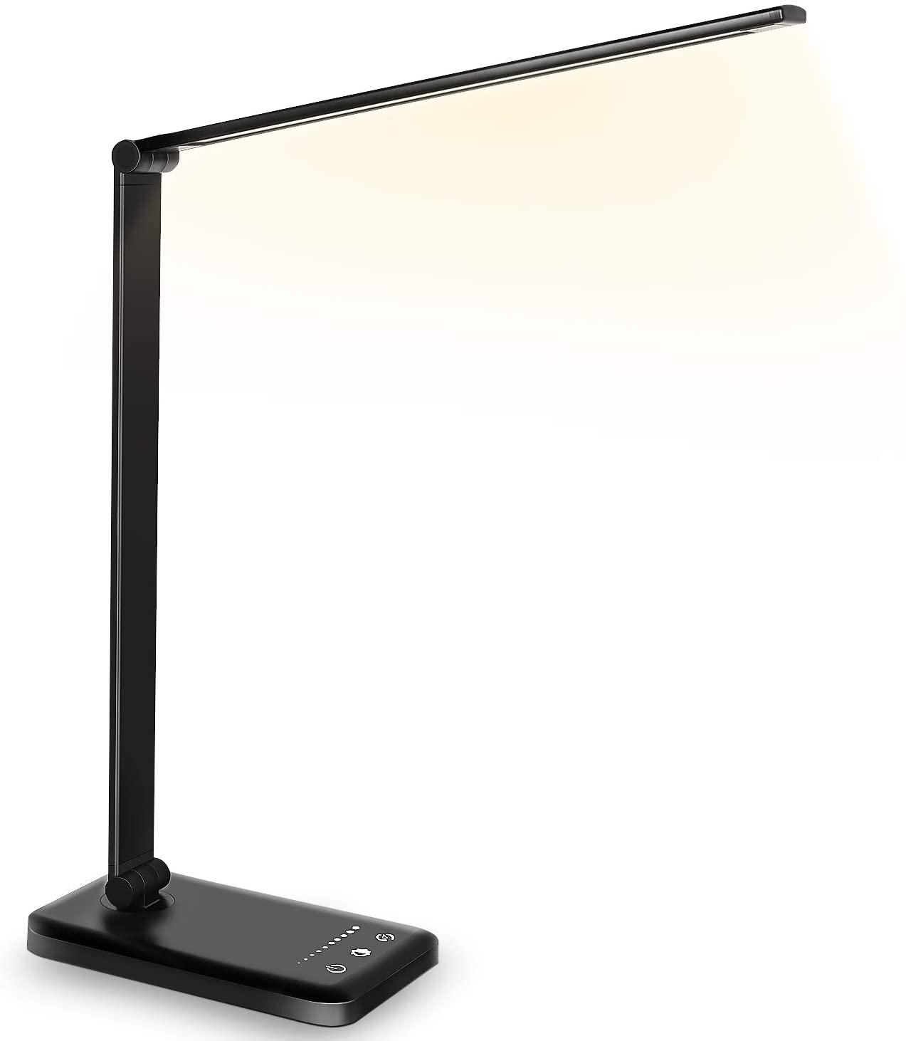 Lampada da scrivania con funzione di protezione degli occhi, 10 livelli di luminosità, 5 modalità di illuminazione e porta di ricarica USB