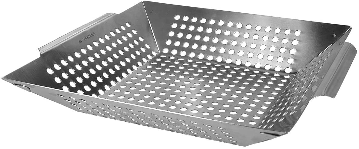 Navaris cestello per barbecue in acciaio inox per arrostire le castagne