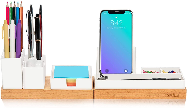 Organizer da scrivania con portamatite regolabile, supporto per telefono, vassoio per foglietti adesivi, portaoggetti