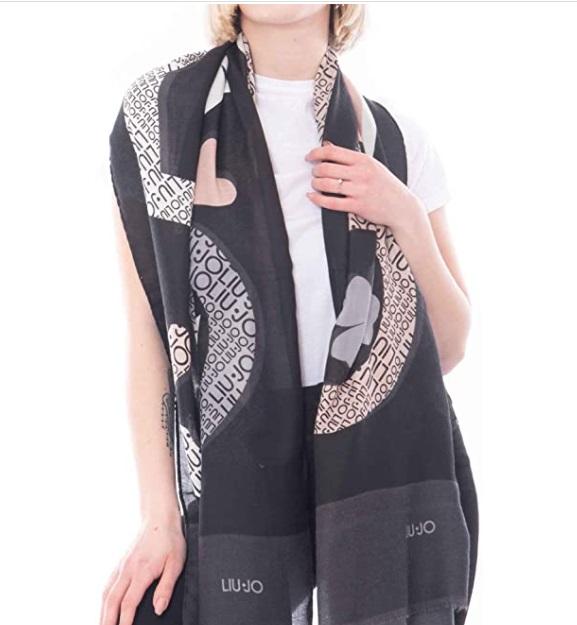 Sciarpa Liu Jo nera con logo e cuori colorati