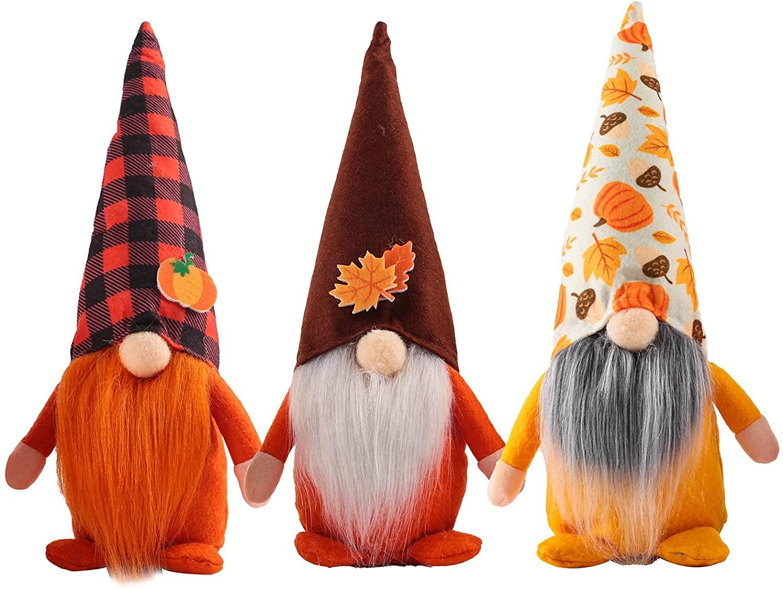 Set di 3 gnomi svedesi con cappello a punta e decorazioni d'autunno per la casa