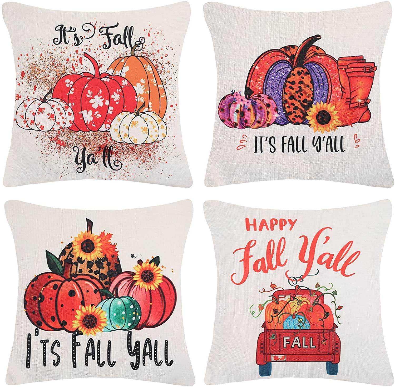 Set di 4 cuscini con decorazioni d'autunno per la casa per il letto o per il divano