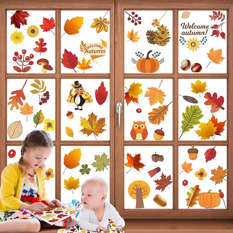 Set di sticker adesivi per le finestre a tema autunno
