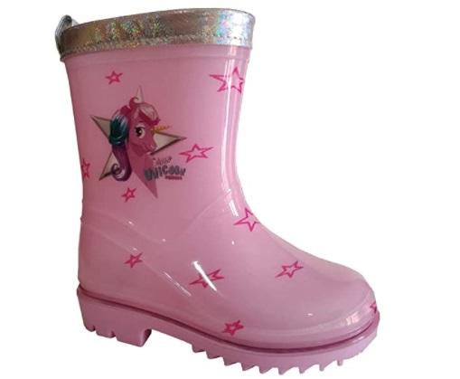 Stivali di gomma da pioggia per bambina rosa con stampa unicorno