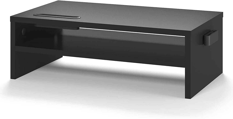 Supporto per monitor in legno da scrivania, con supporto per smartphone e organizer per i cavi