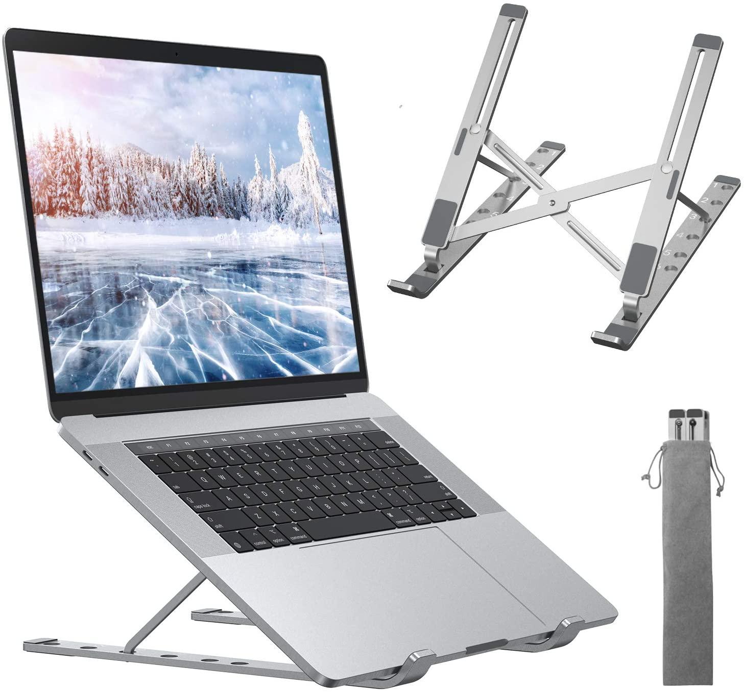 Supporto per pc portatile con 6 livelli di angolazione, regolabile e pieghevole con sistema di raffreddamento
