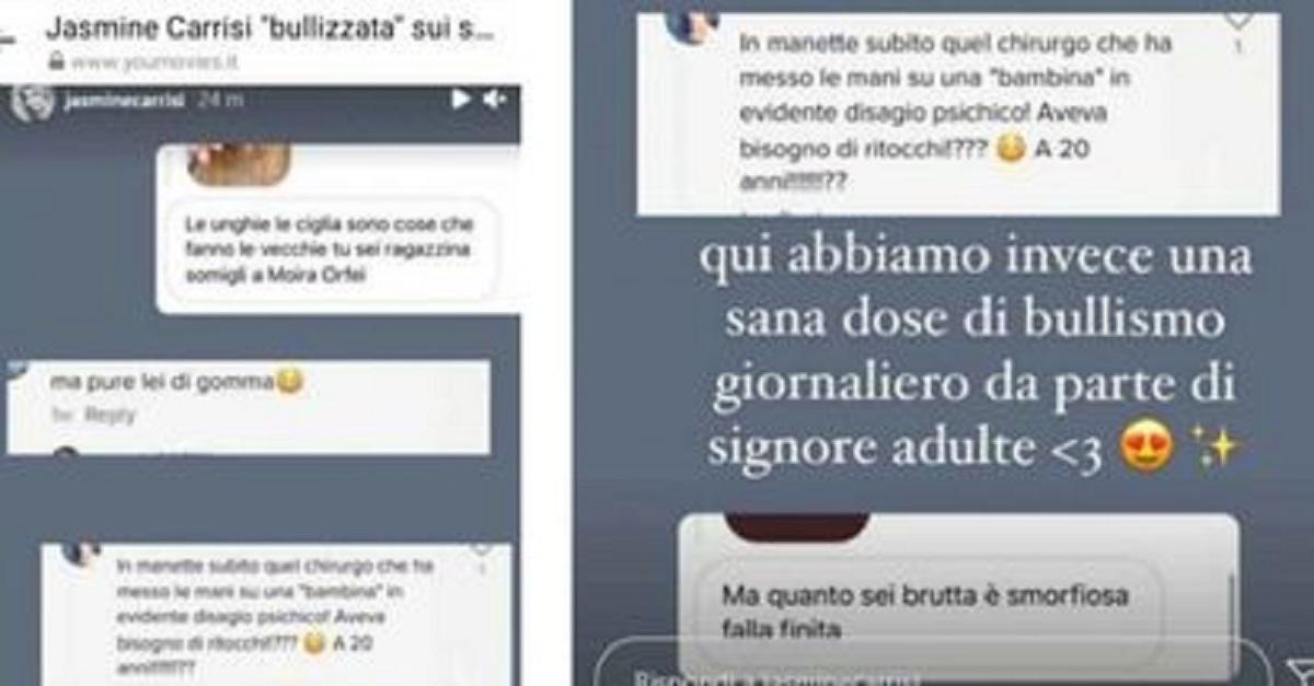 Jasmine Carrisi rende pubblici i messaggi degli haters